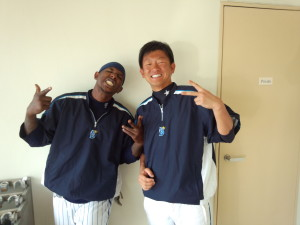 Yokohama DeNA Baystars Outfielder Nyjer Morgan (Left), and his interpreter, Atsushi Nagamata (Right).  Nagamata's new assignment with Morgan will likely keep him on his toes, translating words not found in any dictionary. Courtesy DeNA Baystars